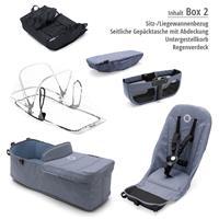 Box 2 Style Set blau meliert | bugaboo donkey2 mono 2019 Kombikinderwagen Alu/Blau meliert/Rubinrot