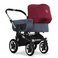 bugaboo donkey2 mono 2019 from birth stroller alu chassis/blue melange/rubin red