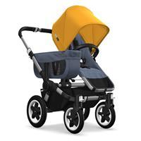 Kinderwagen ab 6 Monate bis 17kg | bugaboo donkey2 mono 2019 Kombikinderwagen Alu/Blau meliert/Sonne