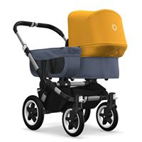 bugaboo donkey2 mono 2019 from birth stroller alu chassis/blue melange/sun yellow