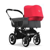 bugaboo donkey2 mono 2019 Kinderwagen für ein Kind Alu-Grau meliert-Neonrot