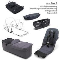 Box 2 Style Set schwarz | bugaboo donkey2 mono 2019 Kinderwagen für ein Kind Alu-Steel Blue-Neonrot
