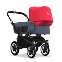 bugaboo donkey2 mono 2019 Kinderwagen für ein Kind Schwarz-Blau meliert-Neonrot