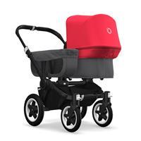 bugaboo donkey2 mono 2019 Kinderwagen für ein Kind Schwarz-Grau meliert-Neonrot
