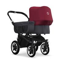 bugaboo donkey2 mono 2019 Kinderwagen für ein Kind Schwarz-Steel Blue-Rubinrot