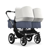 bugaboo donkey2 twin 2019 Zwillingskinderwagen Alu-Blau meliert-Fresh White