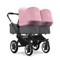bugaboo donkey2 twin 2019 Zwillingswagen Schwarz-Grau meliert-Soft Pink