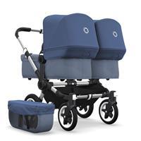 bugaboo Zwillingswagen Donkey 2 Twin Gestell Alu Design Blau Meliert / Himmelblau