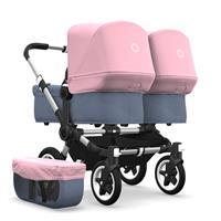 bugaboo Zwillingswagen Donkey 2 Twin Gestell Alu Design Blau Meliert / Soft Pink