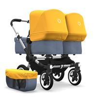 bugaboo Zwillingswagen Donkey 2 Twin Gestell Alu Design Blau Meliert / Sonnengelb
