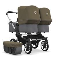 bugaboo Zwillingswagen Donkey 2 Twin Gestell Alu Design Grau Meliert / Olivgrün