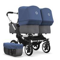 bugaboo Zwillingswagen Donkey 2 Twin Gestell Alu Design Grau Meliert / Himmelblau