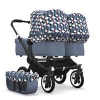 bugaboo Zwillingswagen Donkey 2 Twin Gestell Schwarz Design Blau Meliert