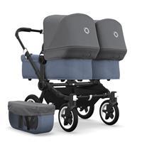 bugaboo Zwillingswagen Donkey 2 Twin Gestell Schwarz Design Blau Meliert / Grau Meliert