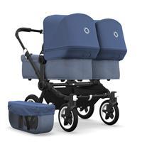 bugaboo Zwillingswagen Donkey 2 Twin Gestell Schwarz Design Blau Meliert / Himmelblau