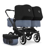 bugaboo Zwillingswagen Donkey 2 Twin Gestell Schwarz Design Blau Meliert / Schwarz