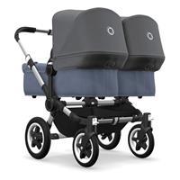 bugaboo Zwillingswagen Donkey 2 Twin Gestell Alu Design Blau Meliert / Grau Meliert