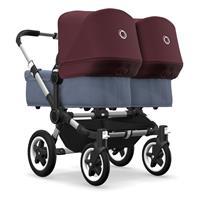 bugaboo Zwillingswagen Donkey 2 Twin Gestell Alu Design Blau Meliert / Rot Meliert