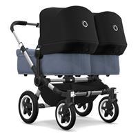 bugaboo Zwillingswagen Donkey 2 Twin Gestell Alu Design Blau Meliert / Schwarz