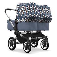 bugaboo Zwillingswagen Donkey 2 Twin Gestell Alu Design Blau Meliert / Waves