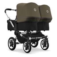 bugaboo Zwillingswagen Donkey 2 Twin Gestell Alu Design Schwarz / Olivgrün