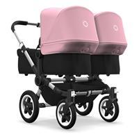 bugaboo Zwillingswagen Donkey 2 Twin Gestell Alu Design Schwarz / Soft Pink