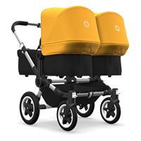 bugaboo Zwillingswagen Donkey 2 Twin Gestell Alu Design Schwarz / Sonnengelb