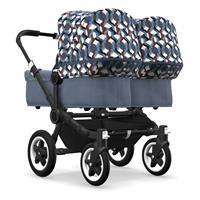 bugaboo Zwillingswagen Donkey 2 Twin Gestell Schwarz Design Blau Meliert / Waves
