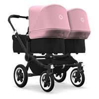 bugaboo Zwillingswagen Donkey 2 Twin Gestell Schwarz Design Schwarz / Soft Pink