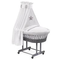 WEGNER bassinet Maxi gray with textile design stars gray