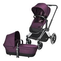 Cybex Priam Kinderwagen ab Geburt, Gestell Trekking Chrome & 2-in-1 Wanne / Sitz Princess Pink