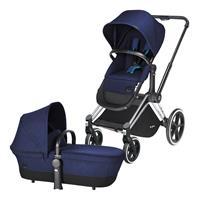 Cybex Priam Kinderwagen ab Geburt, Gestell Trekking Chrome & 2-in-1 Wanne / Sitz Royal Blue