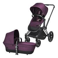Cybex Priam Kinderwagen ab Geburt, Gestell Trekking Matt Black & 2-in-1 Wanne / Sitz Princess Pink
