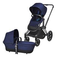 Cybex Priam Kinderwagen ab Geburt, Gestell Trekking Matt Black & 2-in-1 Wanne / Sitz Royal Blue