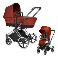 Cybex Priam Kinderwagen-Set: Chrome-Gestell, Lux Sportsitz und Kinderwagenaufsatz Autumn Gold