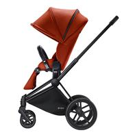 Cybex Priam Kinderwagen-Set: Matt-Black-Gestell, Lux Sportsitz und Kinderwagenaufsatz Autumn Gold