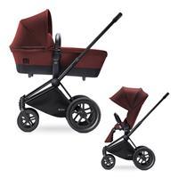 Cybex Priam Kinderwagen-Set: Matt-Black-Gestell, Lux Sportsitz und Kinderwagenaufsatz Mars Red