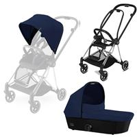 Cybex MIOS Kombikinderwagen-Set Rahmen Chrome Black + Midnight Blue