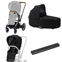 Cybex ePriam-Kinderwagenset Rahmen Chrome Brown, Seat Pack, Lux Carrycot Deep Black