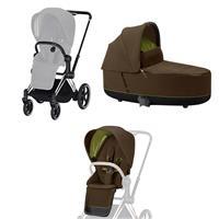Cybex ePriam-Kinderwagenset Rahmen Chrome Black, Seat Pack, Lux Carrycot Khaki Green