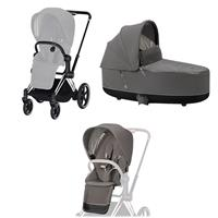 Cybex ePriam-stroller set Rahmen Chrome Black, Seat Pack, Lux Carrycot Soho Grey