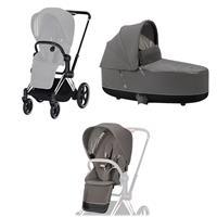 Cybex ePriam-Kinderwagenset Rahmen Chrome Black, Seat Pack, Lux Carrycot Soho Grey