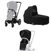 Cybex ePriam-Kinderwagenset Rahmen Matt Black, Seat Pack, Lux Carrycot Deep Black