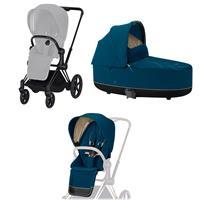 Cybex ePriam-Kinderwagenset Rahmen Matt Black, Seat Pack, Lux Carrycot Mountain Blue
