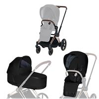 Cybex ePriam-stroller set Rahmen Rosegold, Seat Pack, Lux Carrycot Stardust Black  Plus