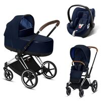 Cybex Priam Chrome Lux Kombikinderwagen Indigo Blue mit Babyschale