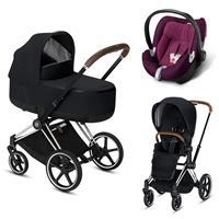 Cybex Priam Chrome Lux Kombikinderwagen Premium Black mit Babyschale