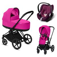 Cybex Priam Black Lux Kombikinderwagen Fancy Pink mit Babyschale