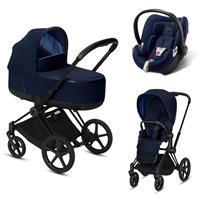 Cybex Priam Black Lux Kombikinderwagen Indigo Blue mit Babyschale