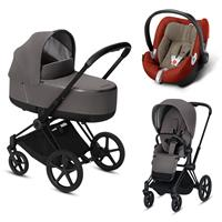 Cybex Priam Black Lux Kombikinderwagen Manhattan Grey mit Babyschale